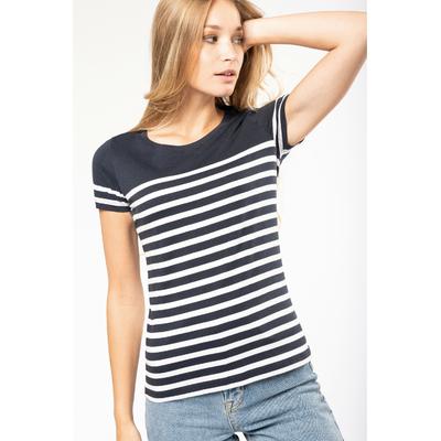 T-shirt marin col rond Bio femme bleu/rayures blanches -100% coton peigné biologique-Bande de propreté au col. Finition double aiguille bas de manches et bas de vêtement