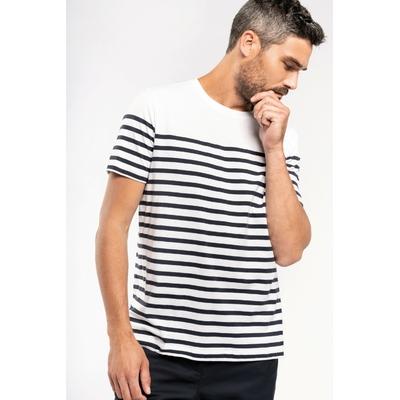 T-shirt marin col rond Bio homme Blanc/Rayures bleues-100% coton peigné-Finition double aiguille bas de manches et bas de vêtement.
