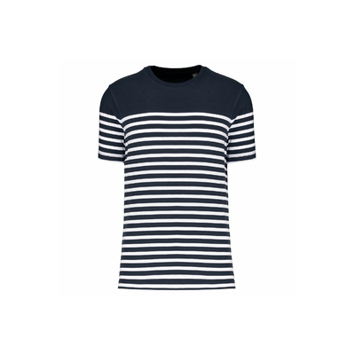 T-shirt marin col rond Bio homme Bleu/Rayures blanches-100% coton peigné-Finition double aiguille bas de manches et bas de vêtement.