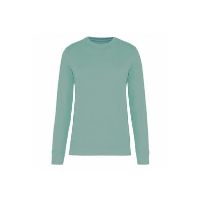 Sweat-shirt unisexe écoresponsable à col rond (Vert D'eau)-85% de coton biologique et 15% de polyester recyclé-Confection 3 fils LSF : résistance et stabilité au lavage.