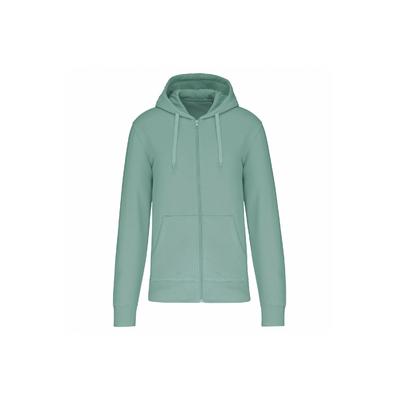 Sweat-shirt à capuche homme  écoresponsable à fermeture éclair homme couleur vert d'eau -Conçu à partir de 85% de coton biologique et 15% de polyester recyclé.