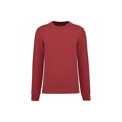 Sweat-shirt unisexe écoresponsable à col rond (Terracotta)-85% de coton biologique et 15% de polyester recyclé-Confection 3 fils LSF : résistance et stabilité au lavage.