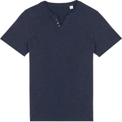 Tee-shirt homme Bleu navy Chiné à Col ouvert à boutons fantaisie. Conçu à partir de 80% coton biologique et 20% polyester recyclé.