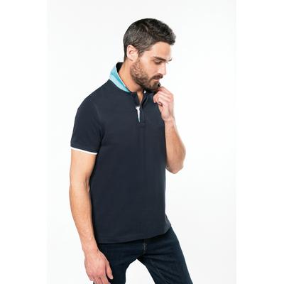 """Polo Homme manches courtes -Navy / White / Light Turquoise -Col renforcé """"collar-up"""" pouvant se porter relevé-100% coton piqué"""