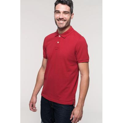 """Polo vintage manches courtes Homme  Dark/Red -100% coton maille piquée-aspect """"Vintage""""-Double bande de propreté en chevron à l'encolure et fentes côté. Patte de boutonnage 3 boutons contrastés."""