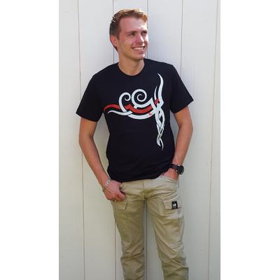 Tee-shirt PIXIT -  symbole Maori - Noir - Col Rond - Coupe ajustée