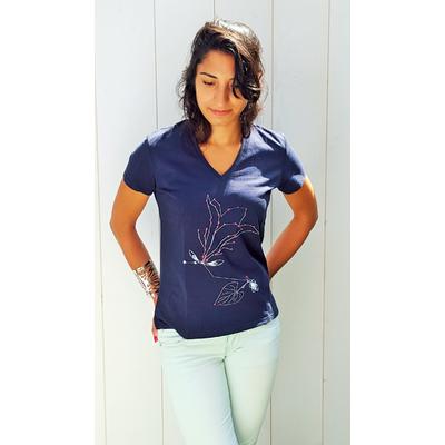 Tee-shirt PIXIT - Constellation Florale - Bleu Navy- Col V - Coupe Cintrée - Près du corps
