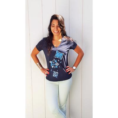 Tee-shirt PIXIT - Ligne géométrique - Bleu Navy - Col V - Coupe Cintrée - Près du corps