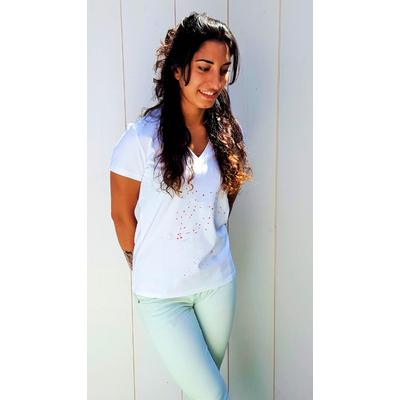 Tee-shirt PIXIT - Constellation Florale - Blanc - Col V - Coupe Cintrée - Près du corps