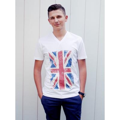 Tee-shirt PIXIT - Drapeau Union Jack - Vintage - BLanc - Col V - Coupe ajustée