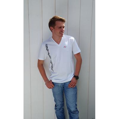 Tee-shirt PIXIT -Ligne Maori - Blanc - Col V - Coupe ajustée
