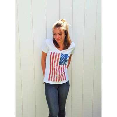 Tee-shirt PIXIT - Drapeau Américain Vintage -Blanc - Col V - Coupe Cintrée - Près du corps