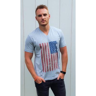 Tee-shirt PIXIT - Drapeau Américain Vintage -Gris - Col V - Coupe ajustée