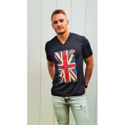 Tee-shirt PIXIT - Drapeau Union Jack - Noir - Coupe ajustée -Flocage effet patiné- Col V
