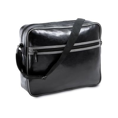 Sac Courrier / Messenger PIXIT en PVC - Look rétro usé - Vintage - Noir avec  bande grises