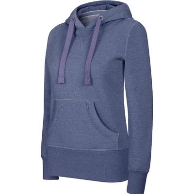 Sweat-shirt Pixit NON ZIPPE - Femme - Bleu Chiné - Poches kangourou -Capuche doublée nid d'abeille - 300/gm² -Coupe cintrée Taille petit