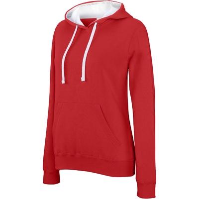 Sweat-shirt Pixit NON ZIPPE- Femme -Rouge / Capuche Blanche - Poches kangourou -Passe fil écouteurs dans la poche kangourou et encolure - 280/gm²
