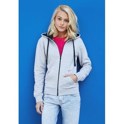 Sweat-shirt Zippé -Pixit - Femme -Gris  / Capuche Bleu Navy - Poches kangourou -Passe fil écouteurs dans la poche kangourou et encolure - 280/gm²