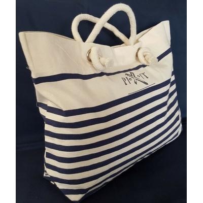 Grand sac de plage style marin en coton canvas. Anses en cordelettes de coton, poche intérieure zippée, fermeture avec bouton pression.