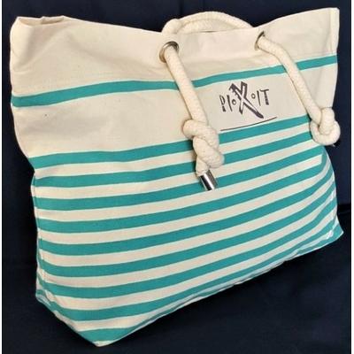 Grand sac de plage vert  style marin en coton canvas. Anses en cordelettes de coton, poche intérieure zippée, fermeture avec bouton pression