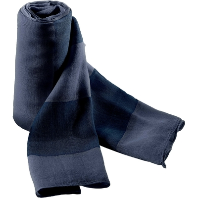 Chèche Navy/Stone Blue -100% Coton. Voile de coton très léger avec larges rayures bicolores de 8cm. Finition bord roulotté.200x70cm