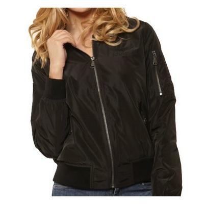 Blouson bomber Noir/Femme -100% polyester-Doublure matelassée-Fermeture zippée-2 poches devant-Poche plaquée zippée avec poche stylo sur la manche gauche-Poche intérieure