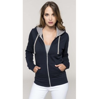 Sweat-shirt ZIPPE -Pixit - Femme -bleu Navy  / Capuche Gris clair  - Poches kangourou -Passe fil écouteurs dans la poche kangourou et encolure - 280/gm²
