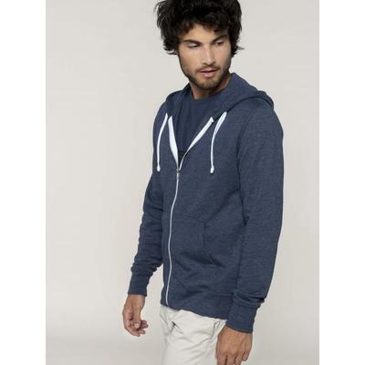 Sweat-shirt Zippé Homme-Bleu Chiné- 52% coton peigné/48% polyester-Poche kangourou-Capuche doublée-Fermeture zippée contrastée avec cordon de serrage-260 g/m²