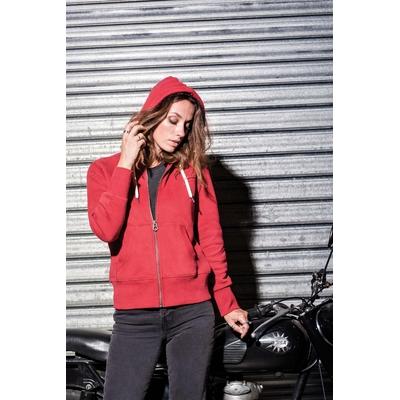 """Sweat-shirt vintage rouge  zippé à capuche femme-80% coton / 20% polyester-Toucher peau de pêche et aspect """"Vintage""""-Fermeture zippée métal. Capuche doublée. Cordon capuche rond et contrasté"""