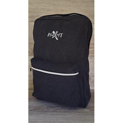 Sac à dos Pixit Noir  en coton canvas avec zips contrastés couleur métal. Compartiment interne zippé matelassé. Bretelles et dos matelassés. Poche à soufflet zippée