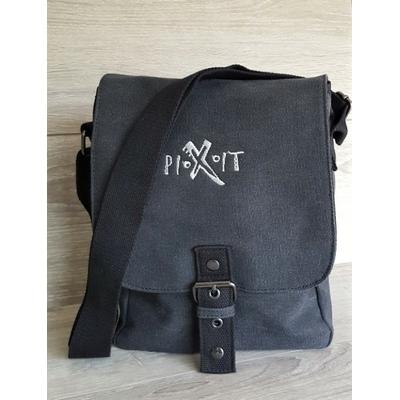 Sac Reporter Noire /tablette Vintage en toile-Compartiment interne matelassé pour iPad/ tablette-Poche zippée en maille filet sous le rabat-Poche arrière zippée-Fermeture magnétique