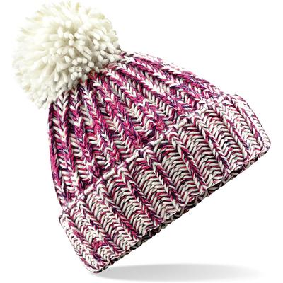 """Bonnet  à pompon en maille torsadée Fushia Twist  -100% acrylique Soft-Spun- look """"fait-main"""", bande thermique-grosse maille, avec revers et pompon."""