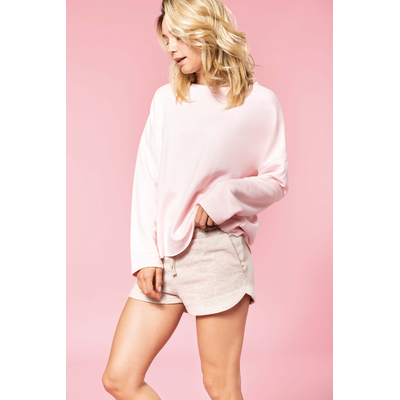 "Sweat-shirt femme ""Loose""-Rose Pastel  -91% coton / 9% Polyester-Molleton non gratté -Toucher ultra doux-Coupe loose décontractée avec large encolure-Finitions double aiguille bas de manches-270 g/m"