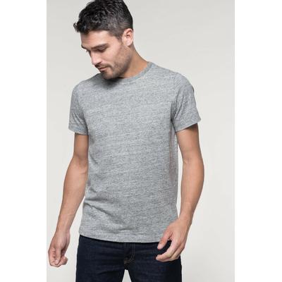 Tee-shirt vintage manches courtes homme-Gris Chiné -100% coton -Toucher peau de pêche et aspect Vintage-Finition double aiguille-Double bande de propreté en chevron à l'encolure.