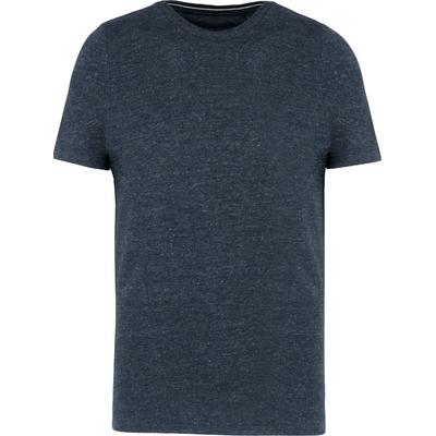 Tee-shirt vintage manches courtes homme-Night blue heather -100% coton -Toucher peau de pêche et aspect Vintage-Finition double aiguille-Double bande de propreté en chevron à l'encolure.