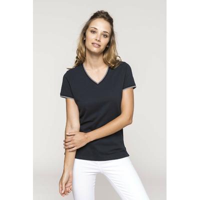 Tee-shirt Bleu Navy -maille piquée col V Femme - 100% coton Maille piquée en coton peigné -Finitions Bord-côte avec rayures contrastées au col et bas de manches-bande de propreté à l'encolure.