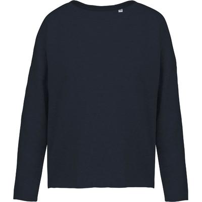 """Sweat-shirt femme """"Loose""""Bleu Navy-91% coton / 9% Polyester-Molleton non gratté -Toucher ultra doux-Coupe loose décontractée avec large encolure-Finitions double aiguille bas de manches-270 g/m"""