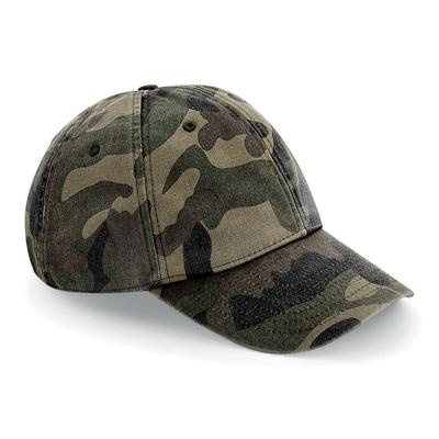 Casquette Vintage Camouflage -100% coton brossé lavé- Casquette en design compact à 6 panneaux- visière préformée-sangle de serrage avec boucle effet laiton, taille unique.oeillets de ventilation-