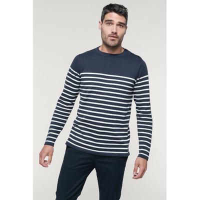 Marinière Homme - Jauge 12. Ouverture épaule gauche avec 3 boutons ton sur ton-Bas de manches et de vêtement en maille tricotée double épaisseur.