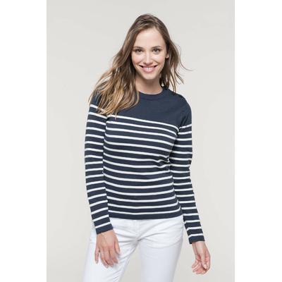 Marinière Femme - Jauge 12. Ouverture épaule gauche avec 3 boutons ton sur ton-Bas de manches et de vêtement en maille tricotée double épaisseur.