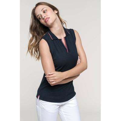 Polo sans manches femme Bleu Navy -100% coton-Maille Piqué en coton peigné-col et patte non boutonnés et bord-côte avec liserés contrastés-