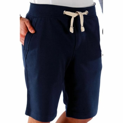 BERMUDA UNISEXE Bleu/Navy -80% Coton peigné/20% Polyester-Molleton non gratté pré-rétréci (French Terry)- Large ceinture avec cordon de serrage- 2 poches devant + 1 poche arrière