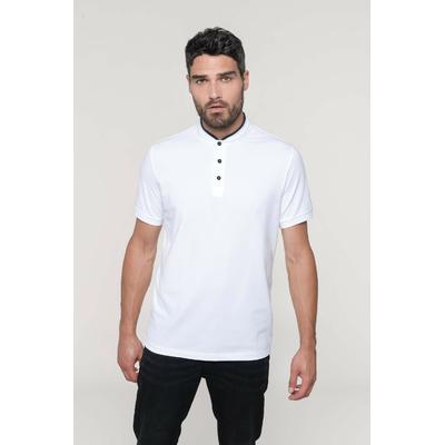 Polo Blanc col mao manches courtes homme-100% coton-Maille piqué en coton peigné-Col style mao en bord-côte avec liseré contrasté. Patte de boutonnage 3 boutons contrastés