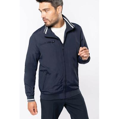 Blouson City-100% Polyamide  -Doublure filet 100%-Tissu résistant et mat-2 poches zippées devant. 1 poche zippée poitrine. 1 poche intérieure. Intérieur col en bord-côte avec rayures contrastées.
