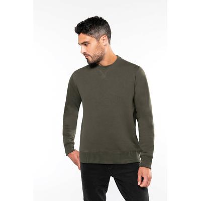 Sweat-shirt col rond Kaki -80% Coton peigné/20% Polyester Molleton gratté et pré-rétréci. Bande de propreté contrastée à l'encolure Finition bord-côte à l'encolure avec points de recouvrement en forme de croix. Finition bord-côte bas de manche