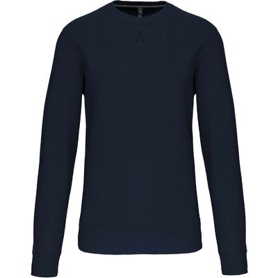 Sweat-shirt col rond Bleu Navy -80% Coton peigné/20% Polyester-Molleton gratté-Bande de propreté contrastée à l'encolure Finition bord-côte à l'encolure avec points de recouvrement en forme de croix. Finition bord-côte bas de manche