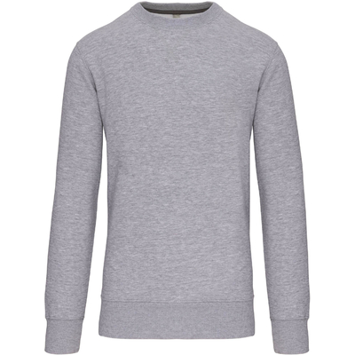 Sweat-shirt col rond Gris chiné -80% Coton peigné/20% Polyester-Molleton gratté-Bande de propreté contrastée à l'encolure Finition bord-côte à l'encolure avec points de recouvrement en forme de croix. Finition bord-côte bas de manche