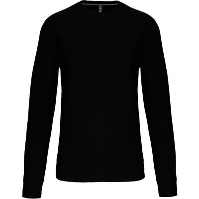 Sweat-shirt col rond Noir -80% Coton peigné/20% Polyester-Molleton gratté-Bande de propreté contrastée à l'encolure Finition bord-côte à l'encolure avec points de recouvrement en forme de croix. Finition bord-côte bas de manche