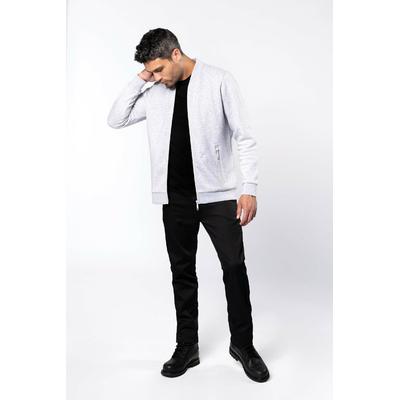 Veste molleton zippée homme Gris chiné-80% coton / 20% polyester-Fermeture zippée et 2 poches zippées devant ton sur ton-Bande de propreté chevron dans le col