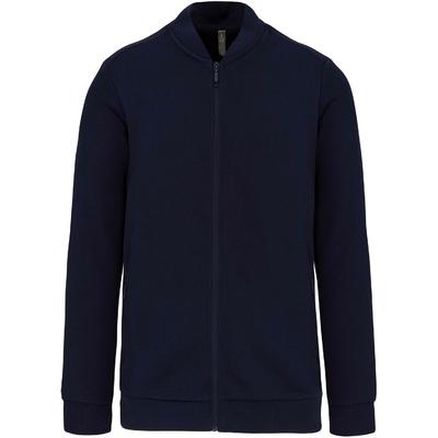 Veste molleton zippée homme Bleu Navy -80% coton / 20% polyester-Fermeture zippée et 2 poches zippées devant ton sur ton-Bande de propreté chevron dans le col